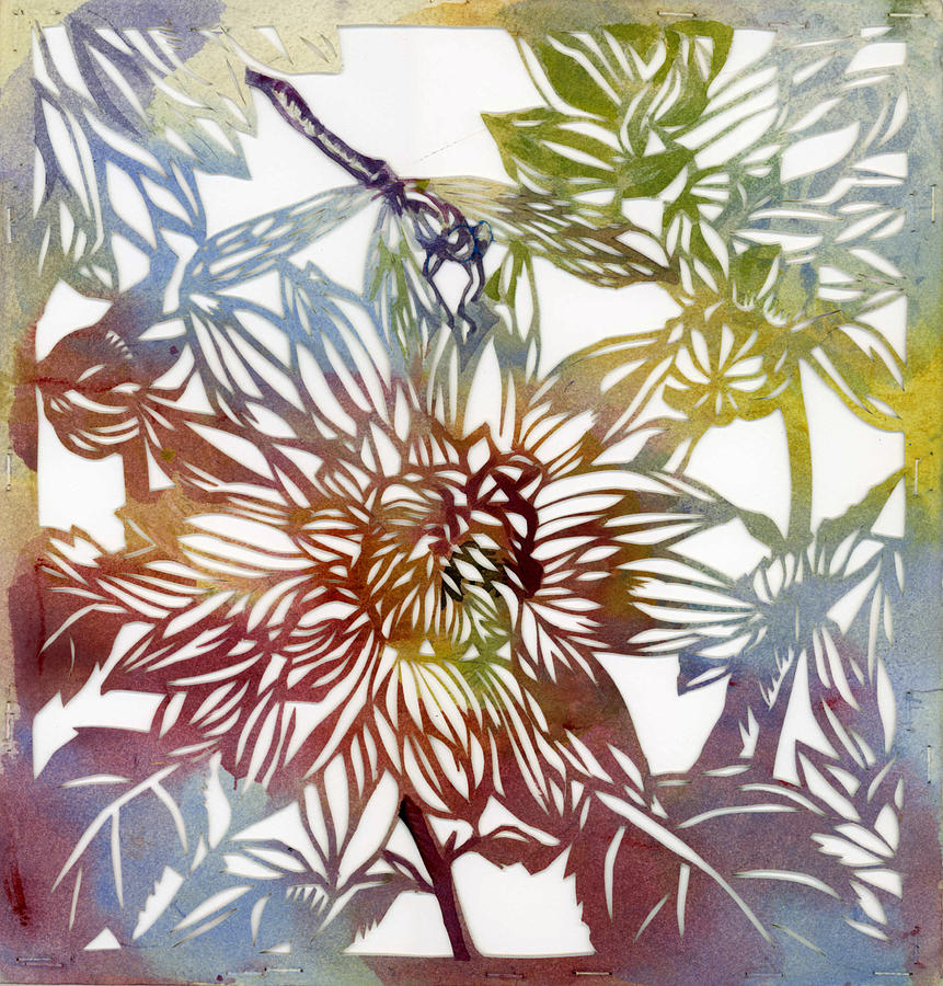 dahlia with dragonfly paper cut by Alfred Ng