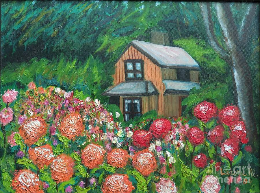 Dahlias in the Woods by Laurie Morgan