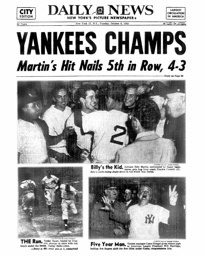 Daily News Back Page Dated Oct. 6, 1953 Photograph by New York Daily News Archive