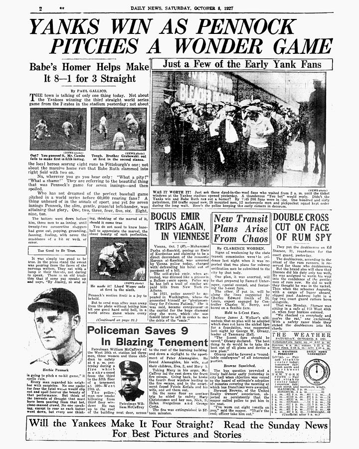 Daily News Page 2, October 8, 1927 Photograph by New York Daily News Archive
