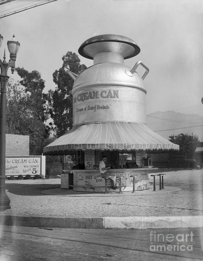 Dairy Product Stand Shaped Like Milk Photograph by Bettmann