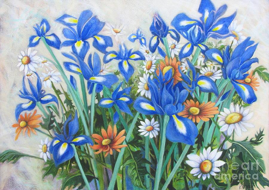 Daisies Among The Irises II by Pamela Iris Harden