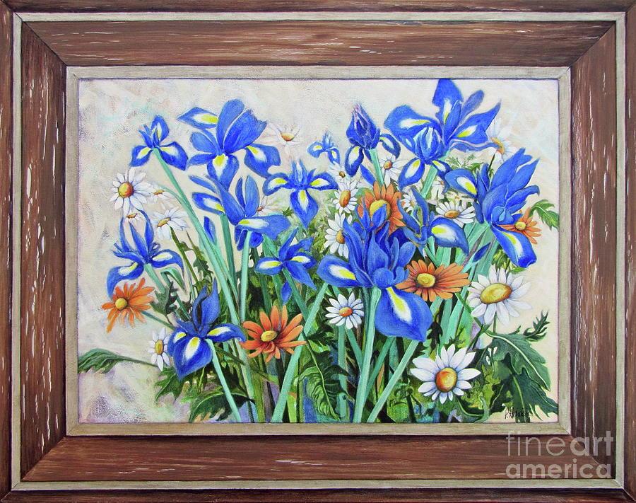 Daisies Among The Irises by Pamela Iris Harden