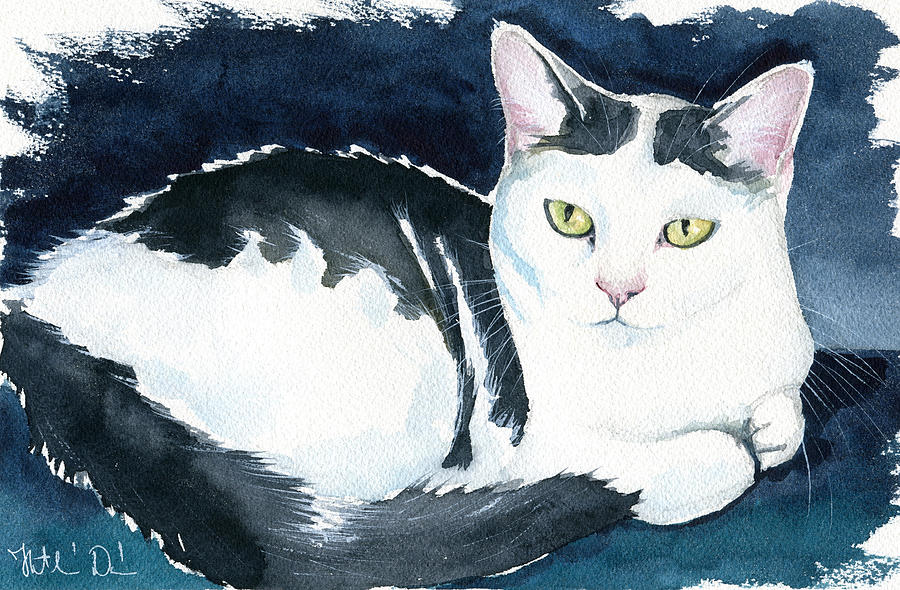 Daisy Cat Painting by Dora Hathazi Mendes