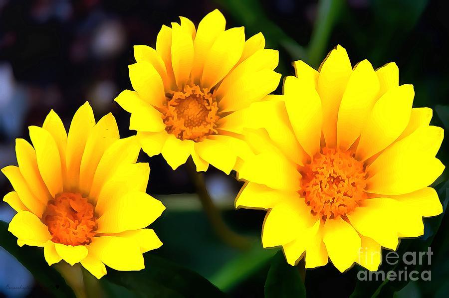 Daisy Trio Yellow In Acrylic by Catherine Lott