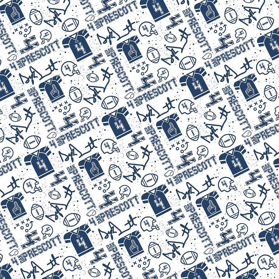pretty nice 6ac79 22db3 Dak Prescott Torn Jersey White On Blue