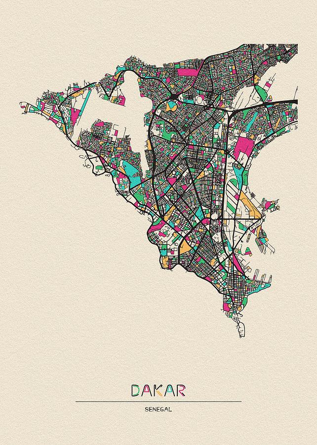 Dakar, Senegal City Map by Inspirowl Design