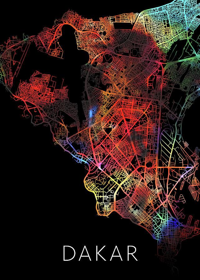 Dakar Senegal Watercolor City Street Map Dark Mode on ramallah city map, limassol city map, ibadan city map, bulawayo city map, apia city map, aleppo city map, fortaleza city map, libya city map, cameroon city map, gwangju city map, kumasi city map, accra city map, cotonou city map, goteborg city map, murmansk city map, kaliningrad city map, malabo city map, zambia city map, dushanbe city map,