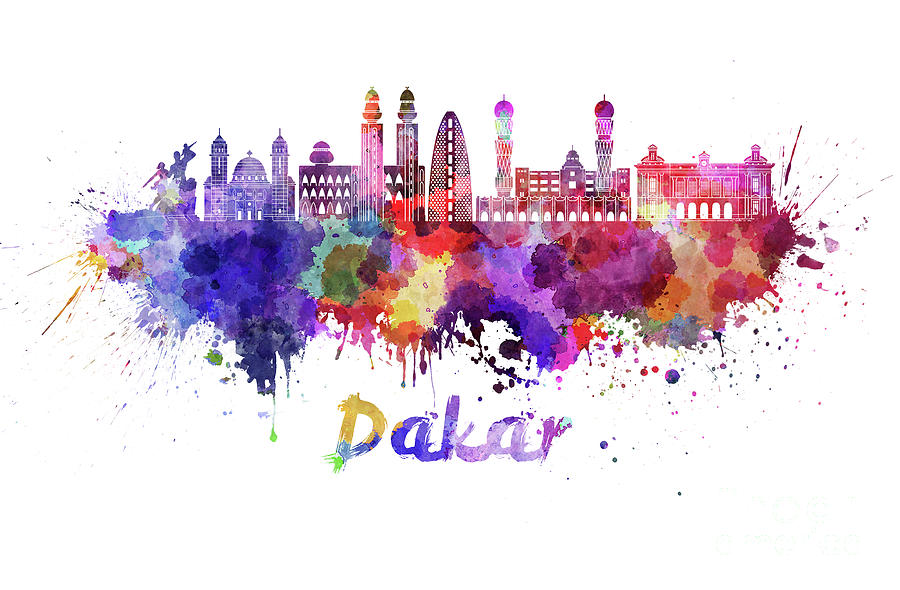 Dakar skyline in watercolor splatters  by Pablo Romero
