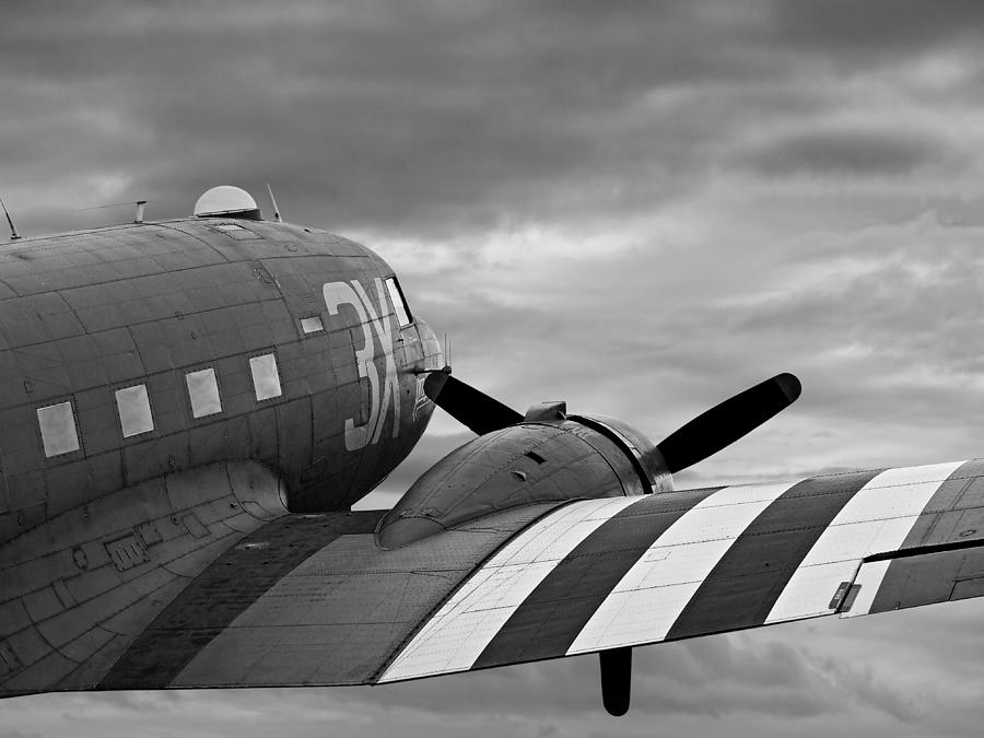 Dakota C-47 Close Up In Mono by Gill Billington
