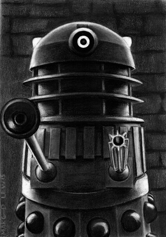 Doctor Who Drawing - Dalek by Marc D Lewis