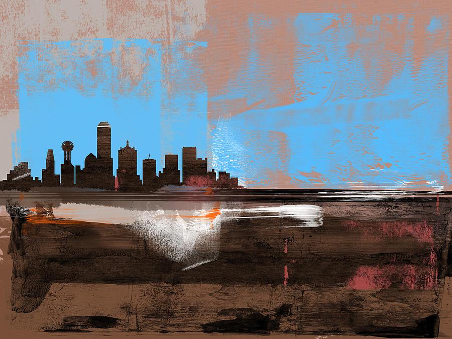 Dallas Mixed Media - Dallas Abstract Skyline I by Naxart Studio