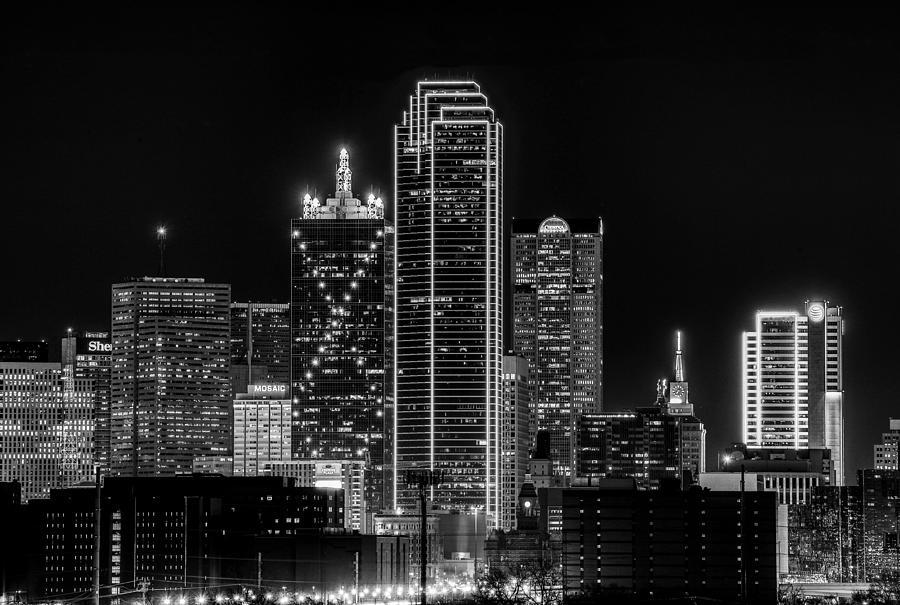 Dallas Black And White Skyline At Night by Dan Sproul