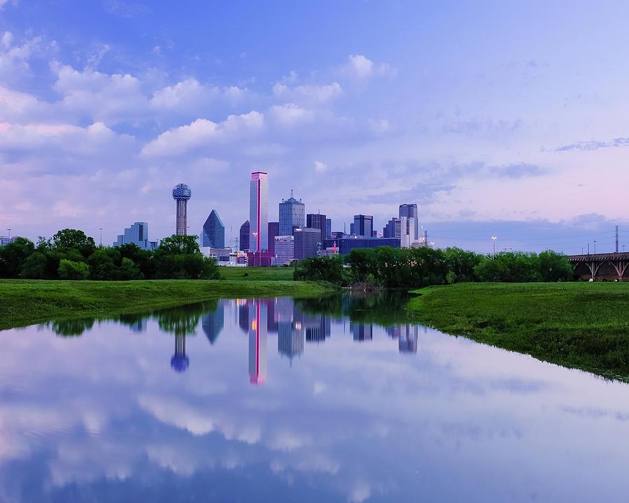 Dallas Cityscape Cloudy Reflection by Robert Bellomy