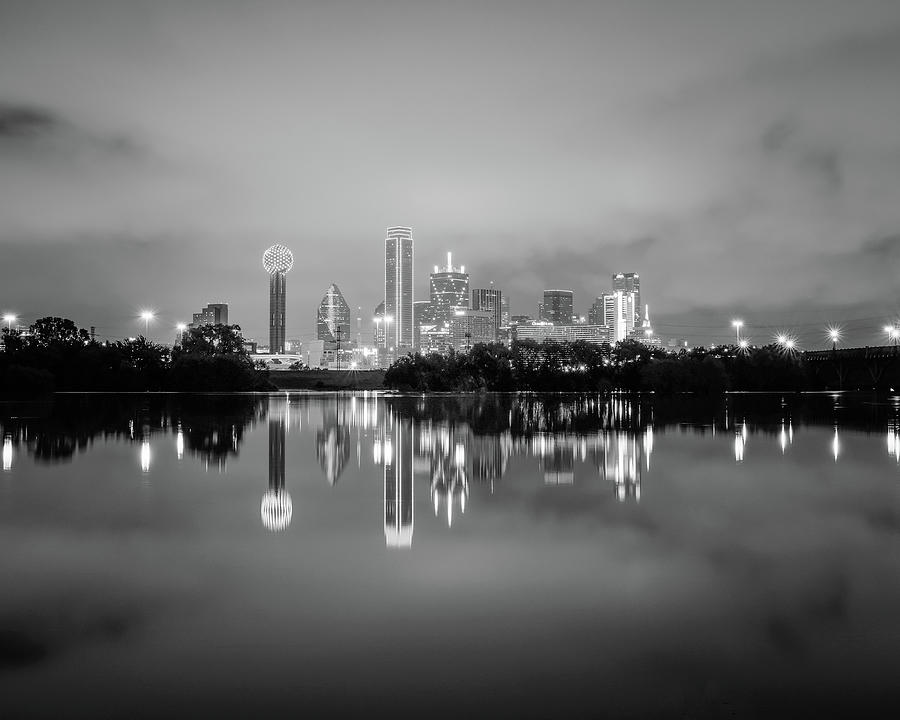 Dallas Cityscape Reflections Black and White by Robert Bellomy
