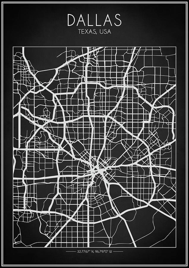 Dallas Digital Art - Dallas Map by Zapista Zapista