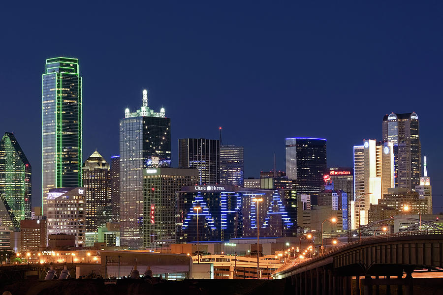 Dallas Night Skyline 071119 by Rospotte Photography