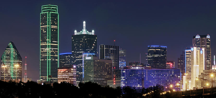 Dallas Night Skyline 092719 by Rospotte Photography