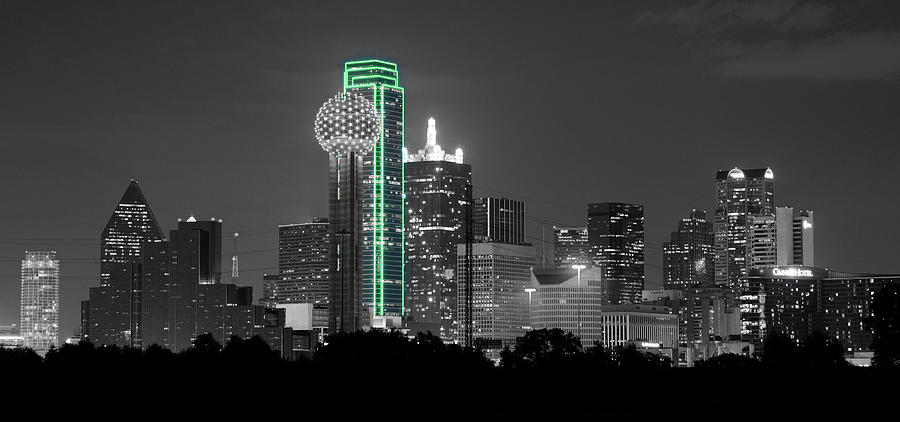 Dallas Skyline Green 120318 by Rospotte Photography