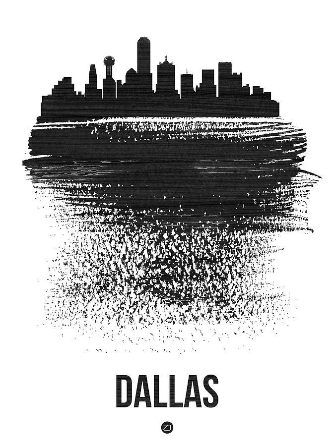Dallas Mixed Media - Dallas Skyline Brush Stroke Black by Naxart Studio