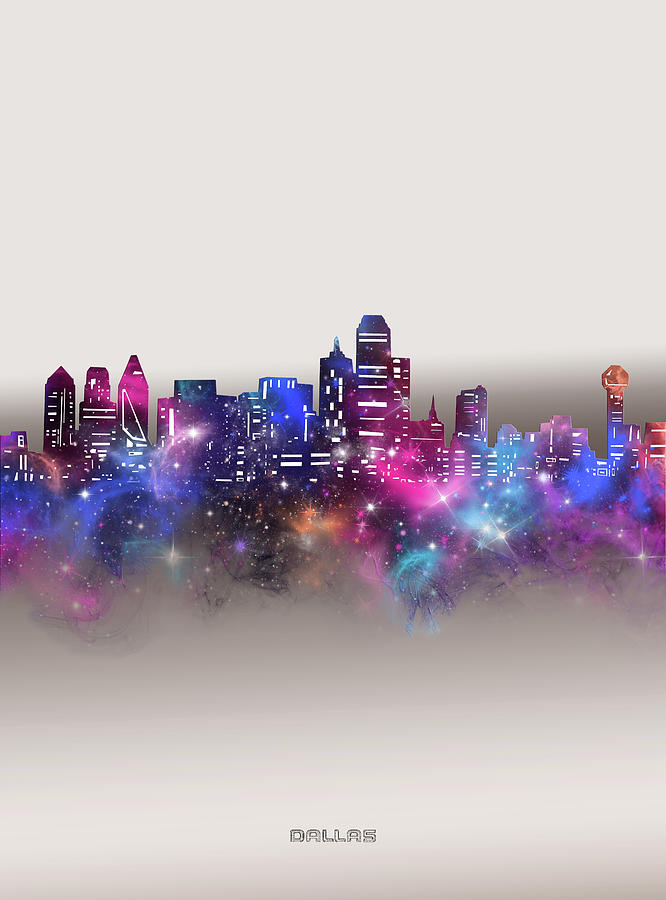 Dallas Digital Art - Dallas Skyline Galaxy by Bekim M