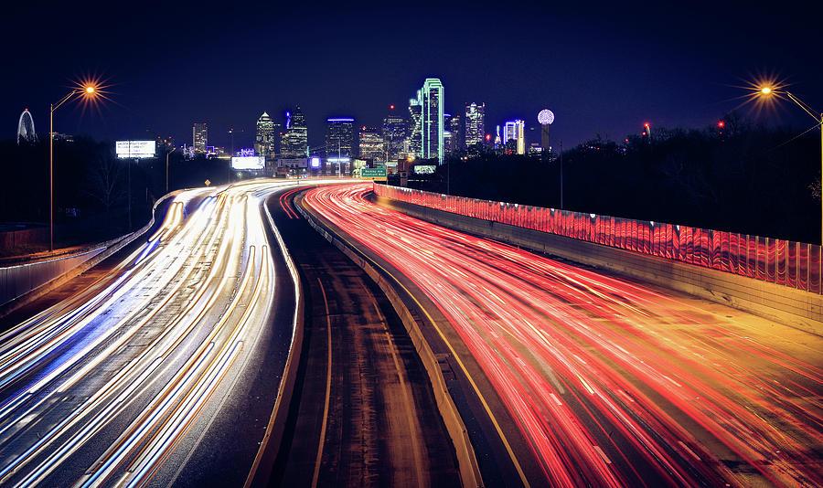 Dallas Skyline Highway Lights by Dan Sproul