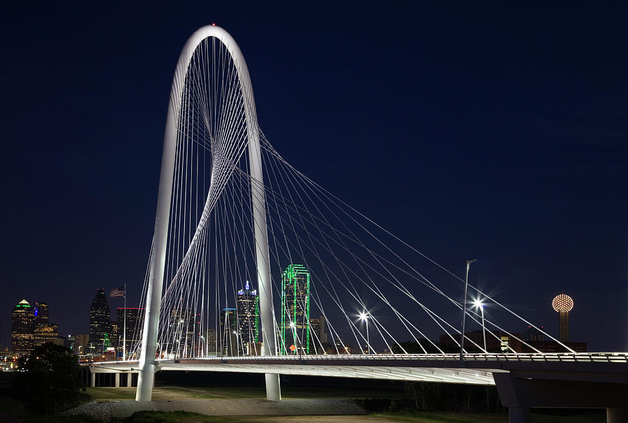 Dallas' Suspension Bridge At Night Photograph by Dhughes9