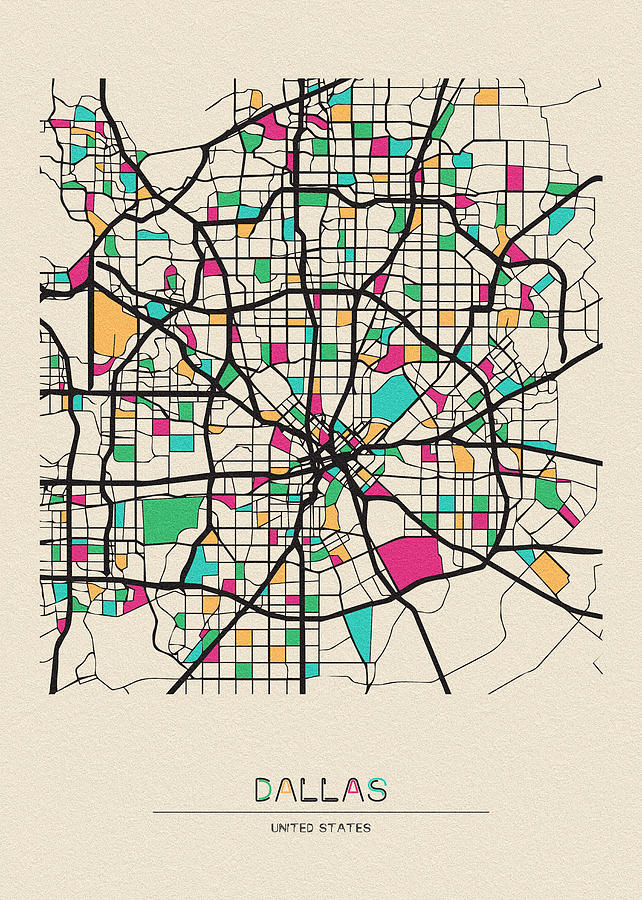 Dallas, Texas City Map by Inspirowl Design