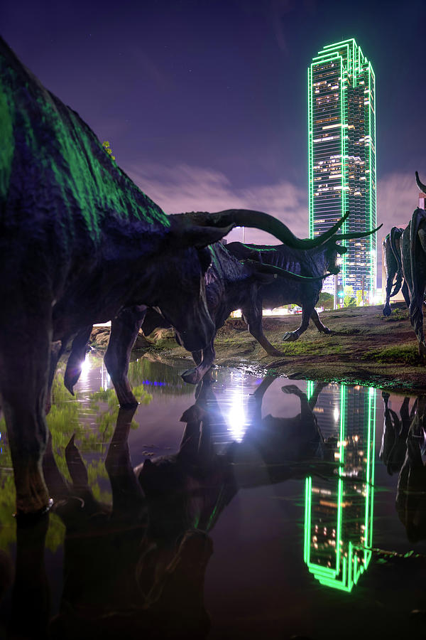 Dallas Texas Longhorn Cattle Drive Sculptures And Skyline Reflections Photograph