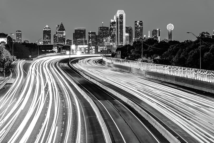America Photograph - Dallas Texas Monochrome Skyline At Dawn - Cityscape Architecture by Gregory Ballos