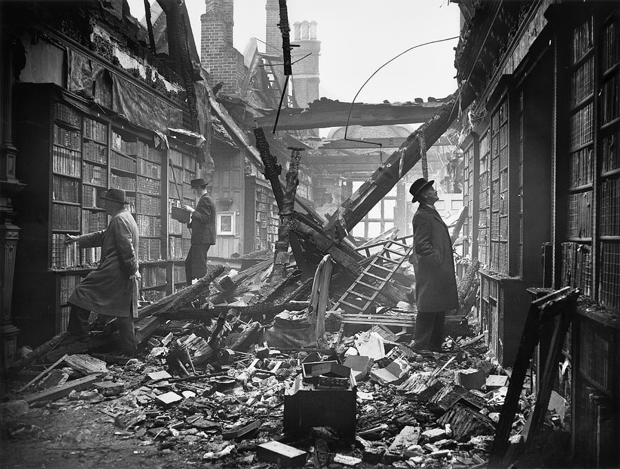 Damaged Library Photograph by Central Press