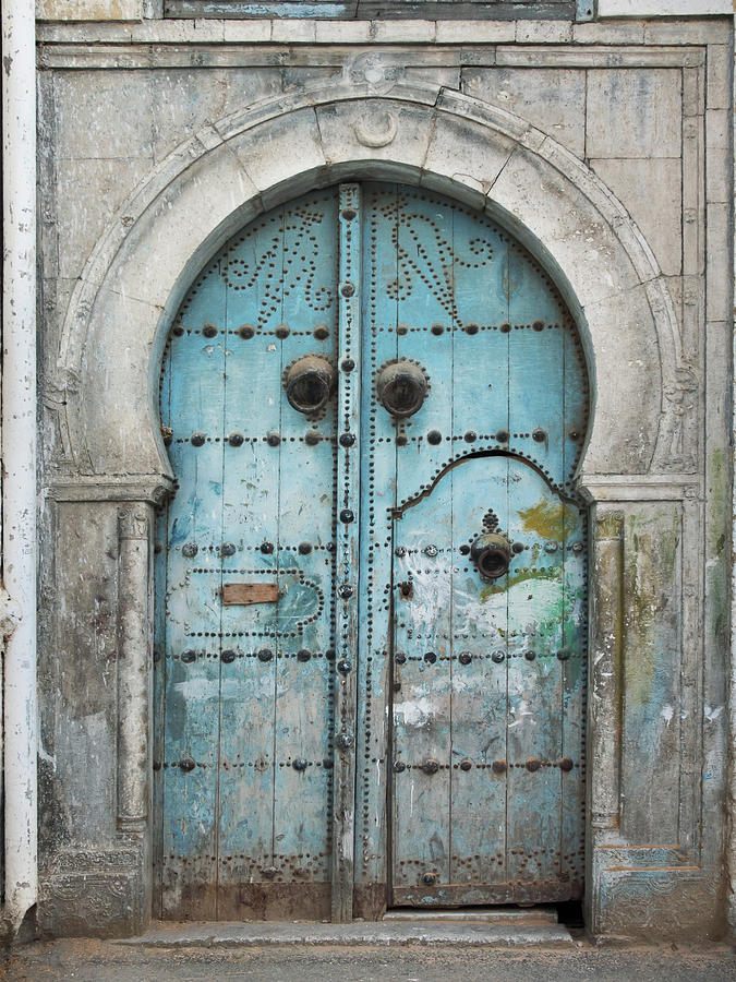 Damaged  Old Tunisian Front Door Photograph by Atahack