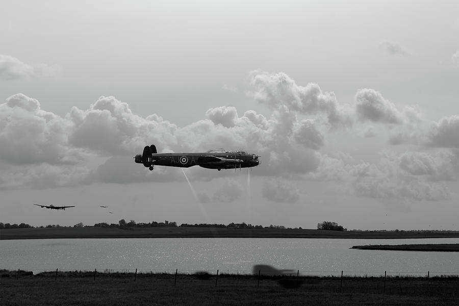 Dambusters Lancasters at Abberton BW version by Gary Eason
