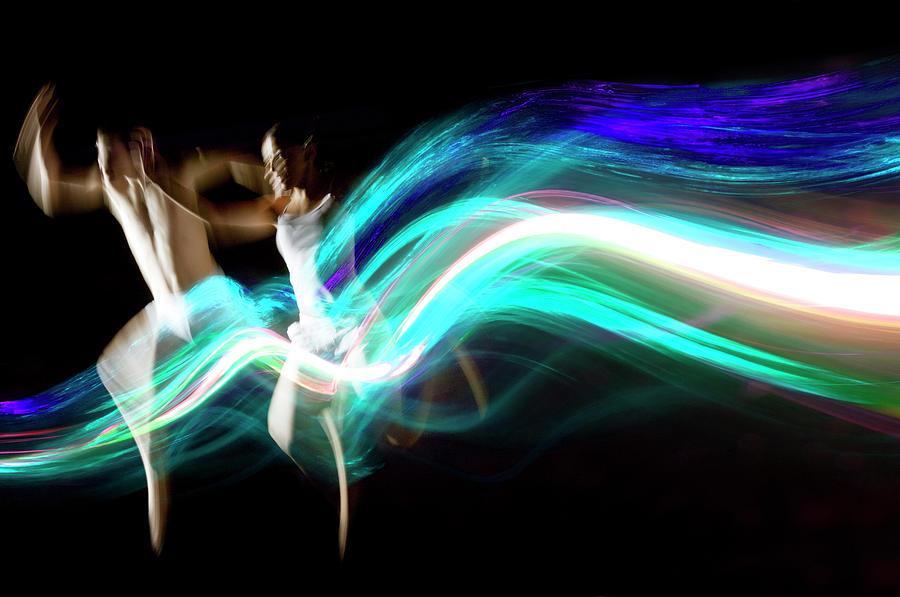 Dance Couple Race Abstract Blue Light Photograph by John Rensten