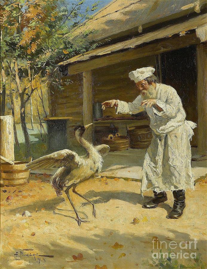 Dancing Crane, 1897. Artist Makovsky Drawing by Heritage Images