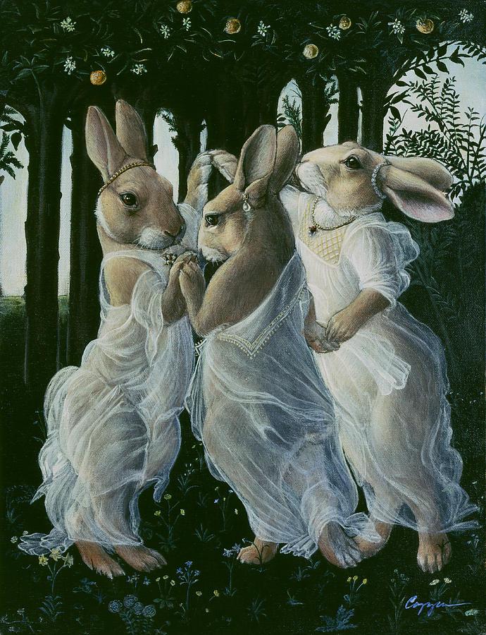Bunnies Painting - Dancing Graces by Melinda Copper