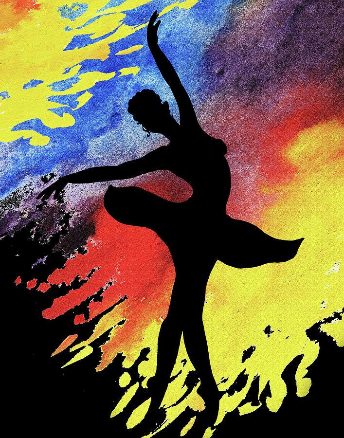 Dancing With Watercolor Ballerina Silhouette I by Irina Sztukowski