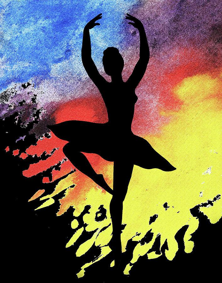 Dancing With Watercolor Ballerina Silhouette II by Irina Sztukowski