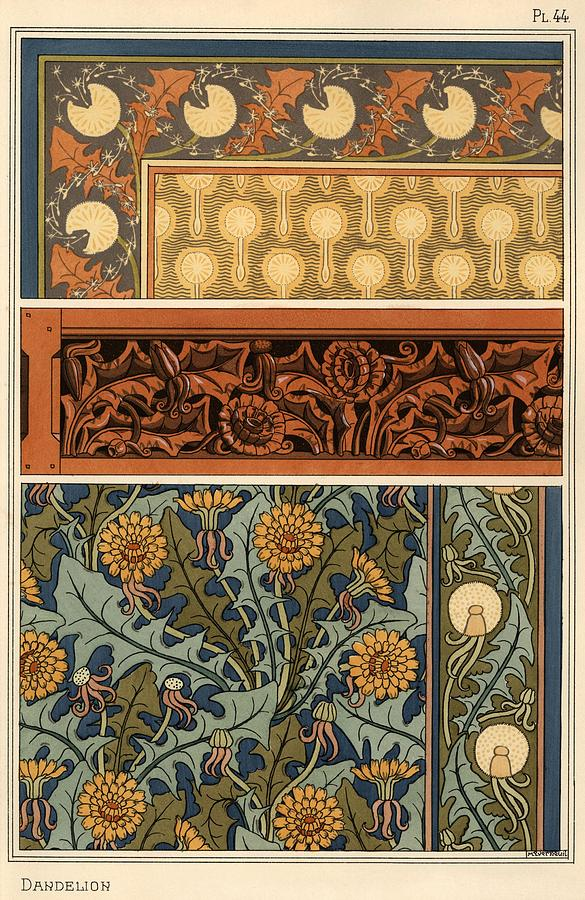 Dandelion In Art Nouveau Patterns For Fabric, Carved