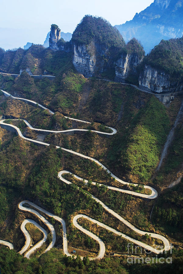 Altitude Photograph - Dangerous Path In China by Kataleewan Intarachote