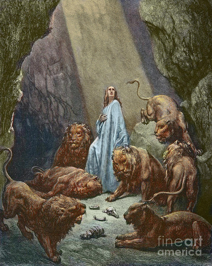 Daniel In The Lions Den Painting - Daniel In The Den Of Lions  Engraving By Gustave Dore by Gustave Dore