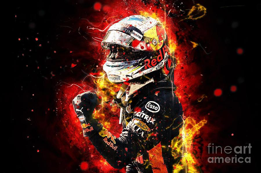 Daniel Ricciardo 2018 Abstract Painting By Therod