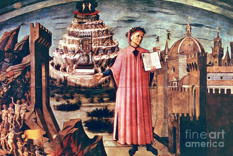 Dante And His Poem The Divine Comedy Drawing by Print Collector