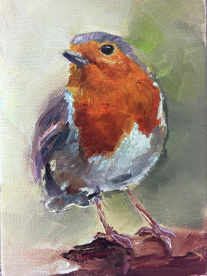 English Robin Painting - Dapper by Sarah Jane Conklin