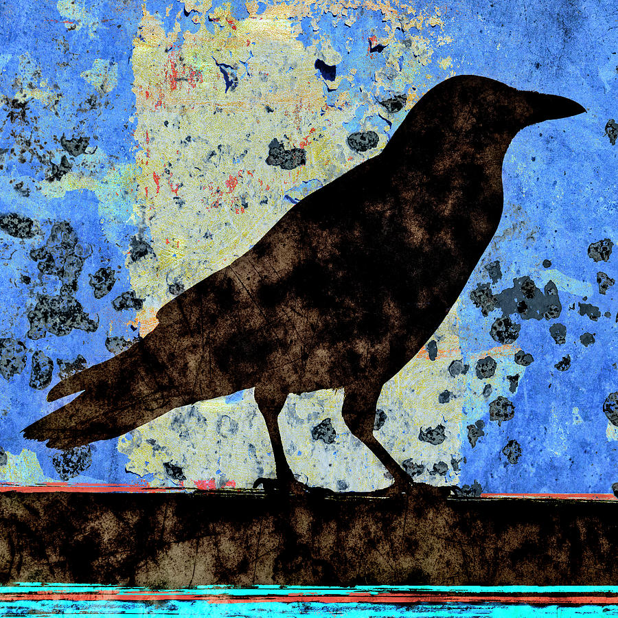 Crow Mixed Media - Dappled Crow On Blue by Carol Leigh