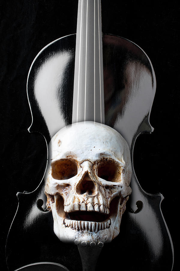 Violin Photograph - Dark Black Violin And Skull by Garry Gay