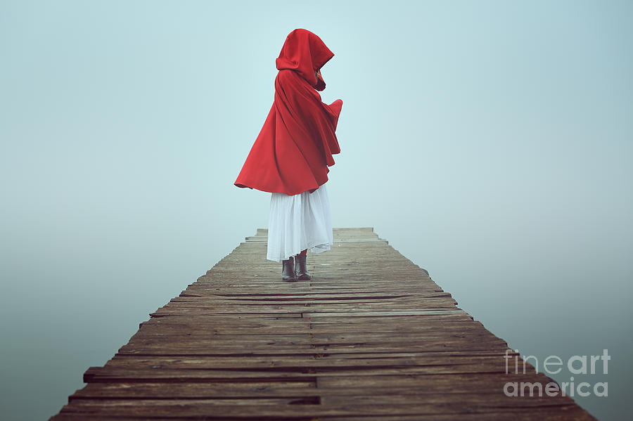 Woman Photograph - Dark Little Red Riding Hood In The Mist by Captblack76