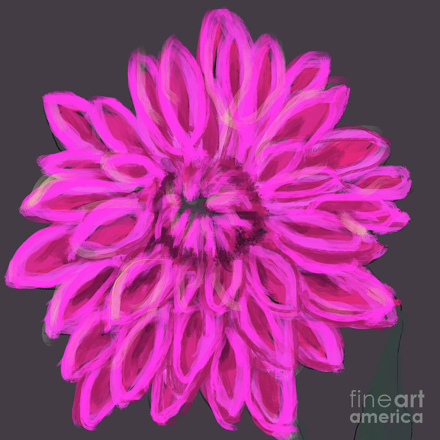 Darling Dahlia pink grey by Go Van Kampen