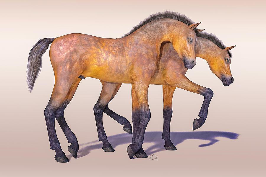 Horse Digital Art - Darling Foal Pair by Betsy Knapp