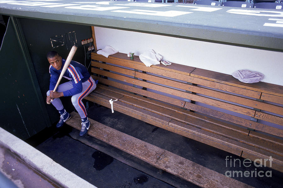 Darryl Strawberry Sits In The Dugout Photograph by Jonathan Daniel